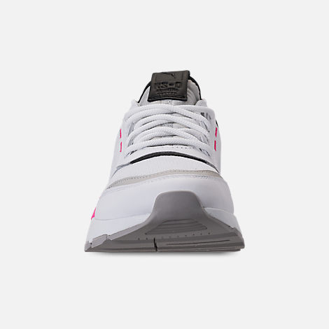 Front view of Boys' Big Kids' Puma Evolution RS-0 Sound Casual Shoes in Puma White/Grey Violet/Puma White