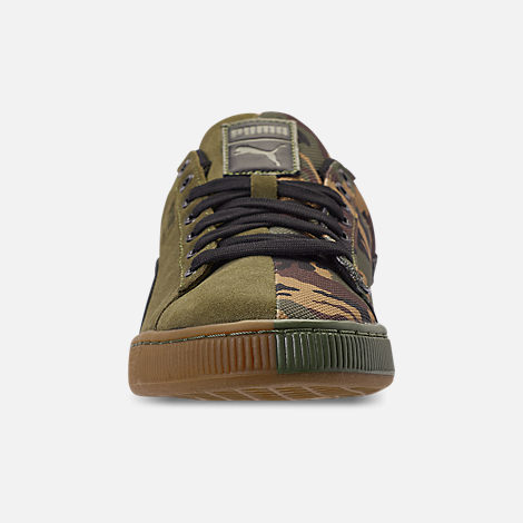 Front view of Men's Puma Suede Classic Split Camo Casual Shoes in Green/Camo