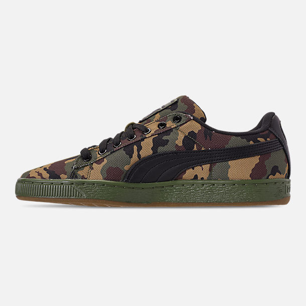 Left view of Men's Puma Suede Classic Split Camo Casual Shoes in Green/Camo