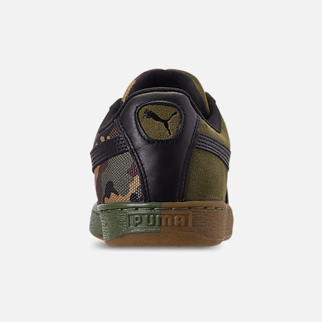 Back view of Men's Puma Suede Classic Split Camo Casual Shoes in Green/Camo