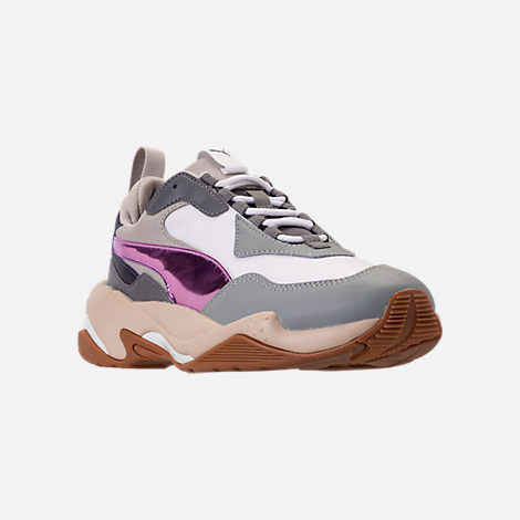 Three Quarter view of Women's Puma Thunder Electric Casual Shoes in Quarry/Pink Lavendar