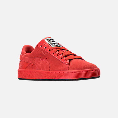 Three Quarter view of Women's Puma Suede Classic x Mac Two Casual Shoes in Fiery Red/Fiery Red