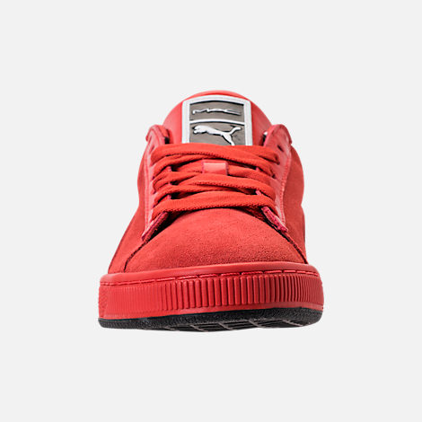 Front view of Women's Puma Suede Classic x Mac Two Casual Shoes in Fiery Red/Fiery Red