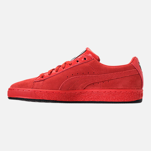 Left view of Women's Puma Suede Classic x Mac Two Casual Shoes in Fiery Red/Fiery Red