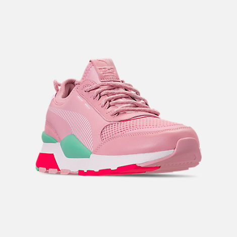 Three Quarter view of Women's Puma RS-0 Play Casual Shoes in Orchid/Biscay Green/Pink/White