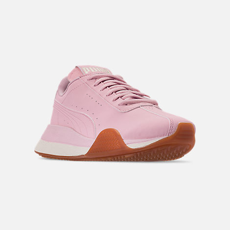 Three Quarter view of Boys' Big Kids' Puma Turin Futuro Nubuck Jr. Casual Shoes in Windchime Orchid