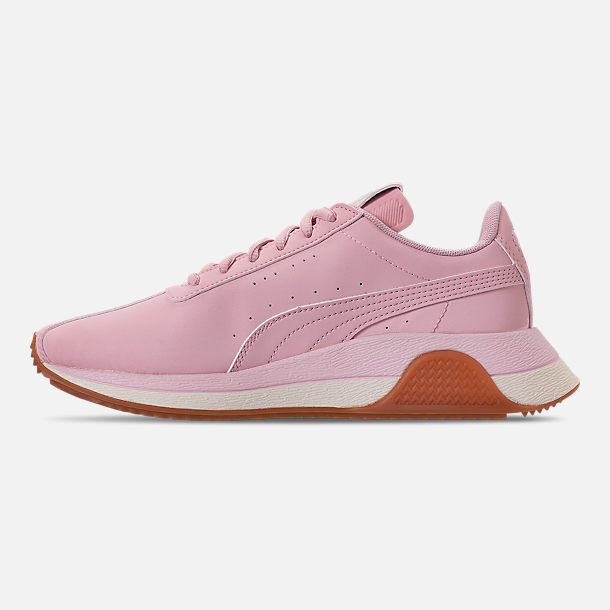Left view of Boys' Big Kids' Puma Turin Futuro Nubuck Jr. Casual Shoes in Windchime Orchid