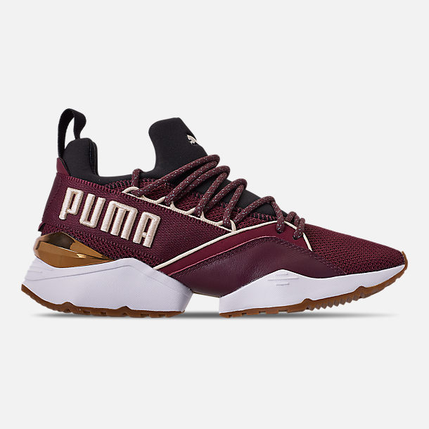 Right view of Women's Puma Muse Maia Metallic Casual Shoes in Fig/Puma Black/Birch