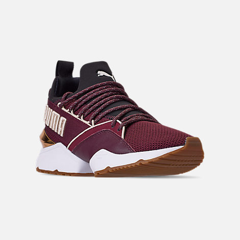 Three Quarter view of Women's Puma Muse Maia Metallic Casual Shoes in Fig/Puma Black/Birch