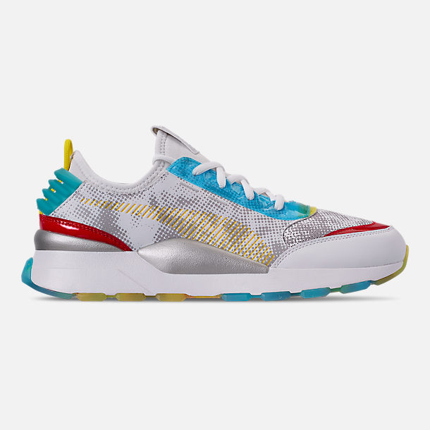 Right view of Men's Puma RS-0 Optic Filter Casual Shoes in White/Aguarius/Vibrant Yellow