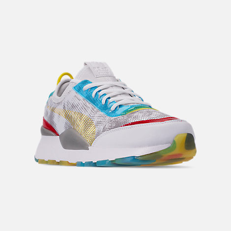 Three Quarter view of Men's Puma RS-0 Optic Filter Casual Shoes in White/Aguarius/Vibrant Yellow