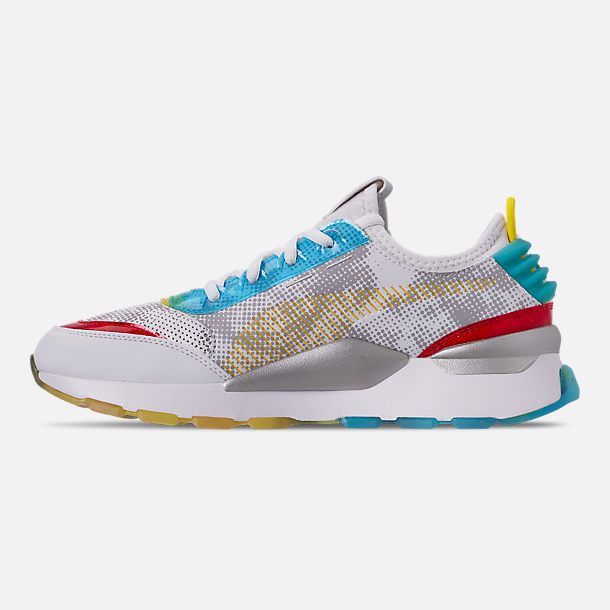 Left view of Men's Puma RS-0 Optic Filter Casual Shoes in White/Aguarius/Vibrant Yellow