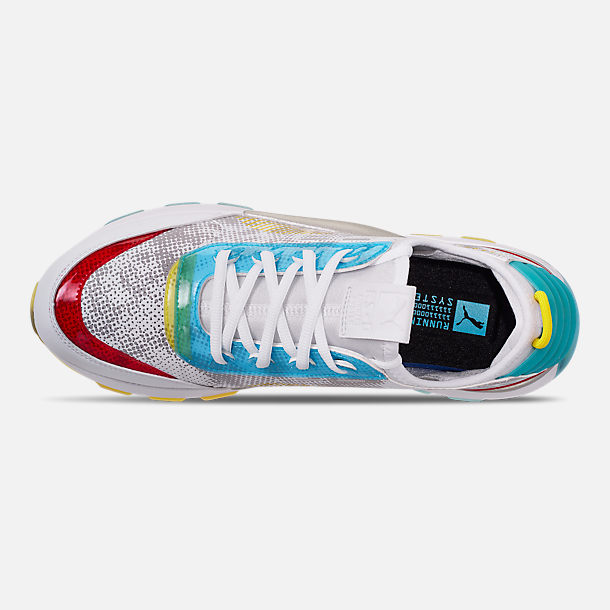 Top view of Men's Puma RS-0 Optic Filter Casual Shoes in White/Aguarius/Vibrant Yellow
