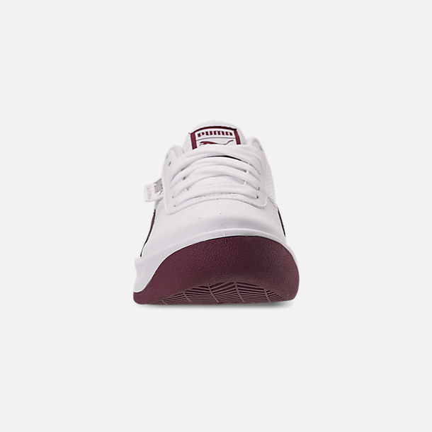 Front view of Women's Puma California Casual Shoes in Puma White/Fig Metallic Ash