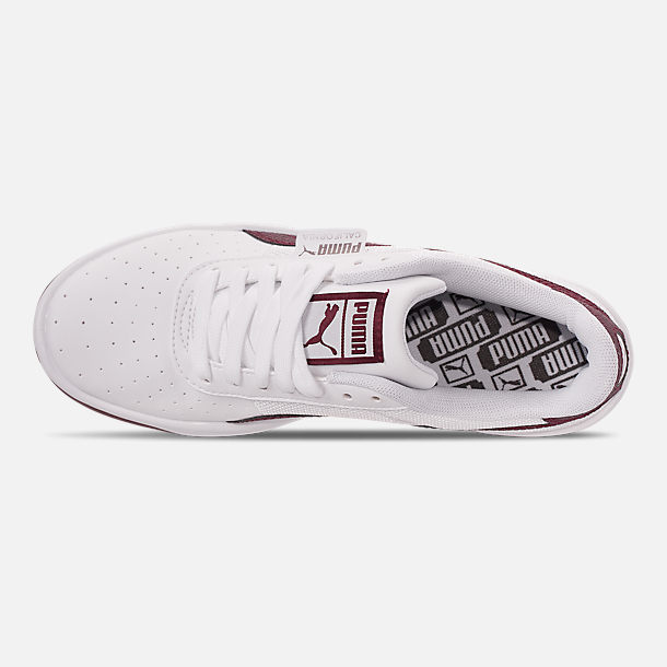 Top view of Women's Puma California Casual Shoes in Puma White/Fig Metallic Ash