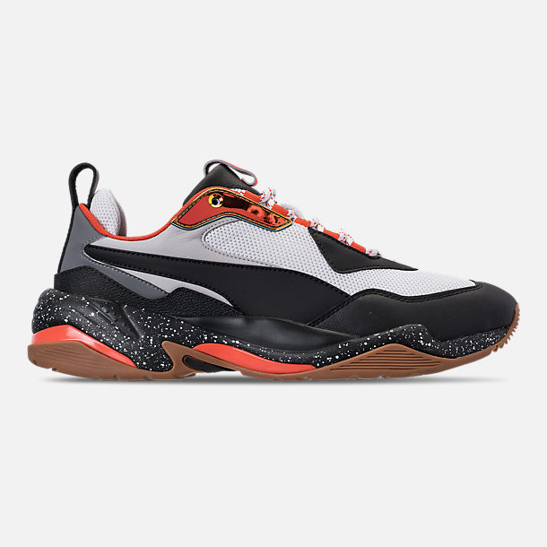Right view of Boys' Grade School Puma Thunder Running Shoes in White/Black/Mandarin Red