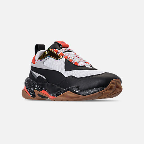 Three Quarter view of Boys' Grade School Puma Thunder Running Shoes in White/Black/Mandarin Red