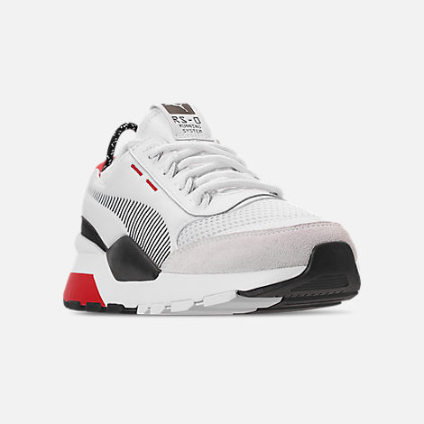 Three Quarter view of Boys' Big Kids' Puma RS-0 WTR Toys Casual Shoes in White/Black/Red