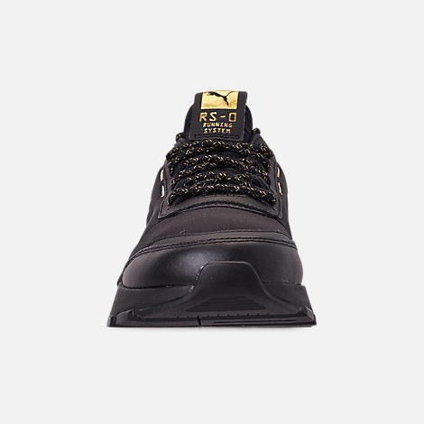 Front view of Boys' Big Kids' Puma RS-0 Trophy Casual Shoes in Black/Gold