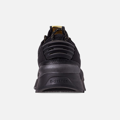 Back view of Boys' Big Kids' Puma RS-0 Trophy Casual Shoes in Black/Gold