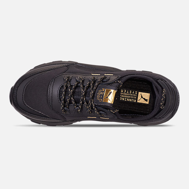 Top view of Boys' Big Kids' Puma RS-0 Trophy Casual Shoes in Black/Gold