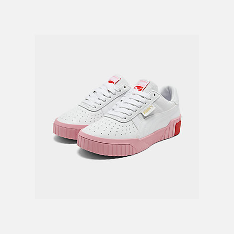 Three Quarter view of Women's Puma Cali Fashion Casual Shoes in White/Pink