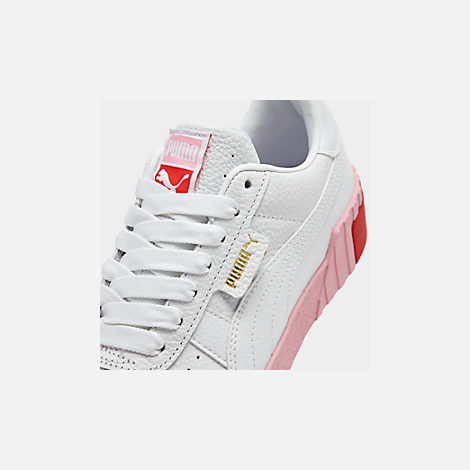 Front view of Women's Puma Cali Fashion Casual Shoes in White/Pink