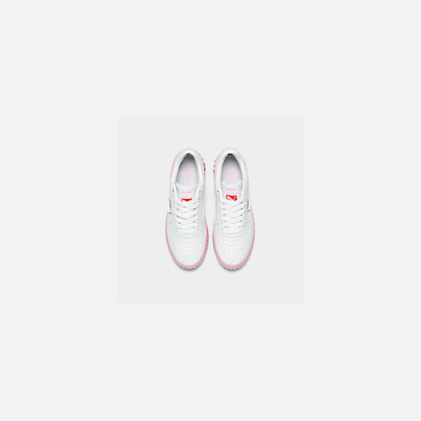 Back view of Women's Puma Cali Fashion Casual Shoes in White/Pink