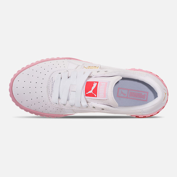 Top view of Women's Puma Cali Fashion Casual Shoes in White/Pink