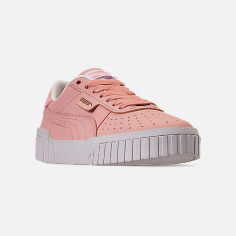 Three Quarter view of Women's Puma Cali Nubuck Casual Shoes in Peach Bud/Peach Bud