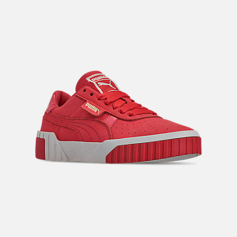 Three Quarter view of Women's Puma Cali Nubuck Casual Shoes in Hibiscus/Whisper White/Gold