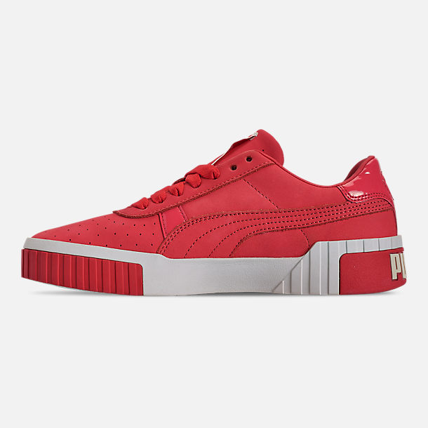 Left view of Women's Puma Cali Nubuck Casual Shoes in Hibiscus/Whisper White/Gold
