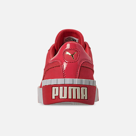 Back view of Women's Puma Cali Nubuck Casual Shoes in Hibiscus/Whisper White/Gold