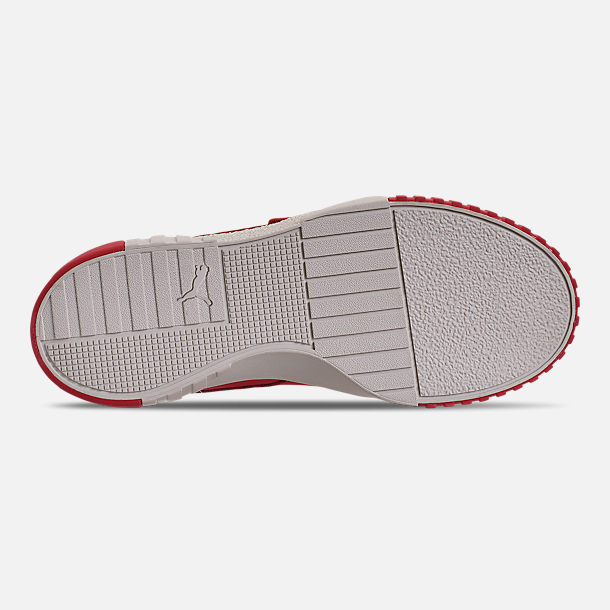 Bottom view of Women's Puma Cali Nubuck Casual Shoes in Hibiscus/Whisper White/Gold