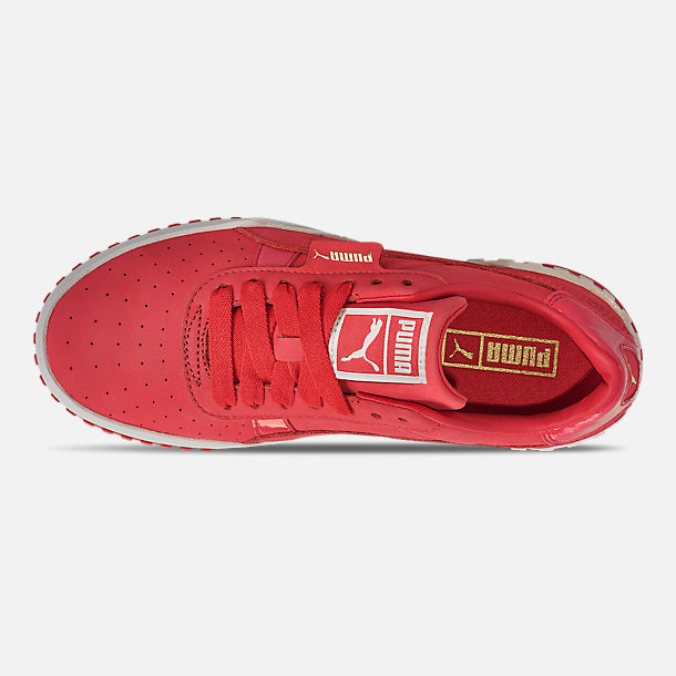 Top view of Women's Puma Cali Nubuck Casual Shoes in Hibiscus/Whisper White/Gold