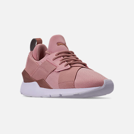 Three Quarter view of Women's Puma Muse Casual Shoes in Pink