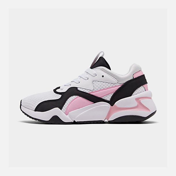 Right view of Women's Puma Nova '90s Block Casual Shoes in White/Pale Pink