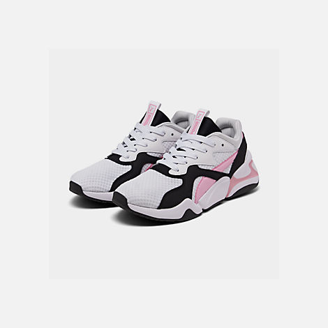 Three Quarter view of Women's Puma Nova '90s Block Casual Shoes in White/Pale Pink