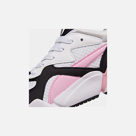 Front view of Women's Puma Nova '90s Block Casual Shoes in White/Pale Pink