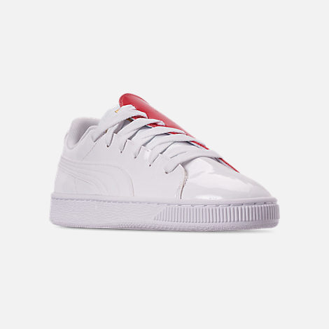Three Quarter view of Women's Puma Basket Crush Casual Shoes in White/White