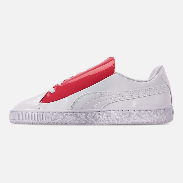Left view of Women's Puma Basket Crush Casual Shoes in White/White