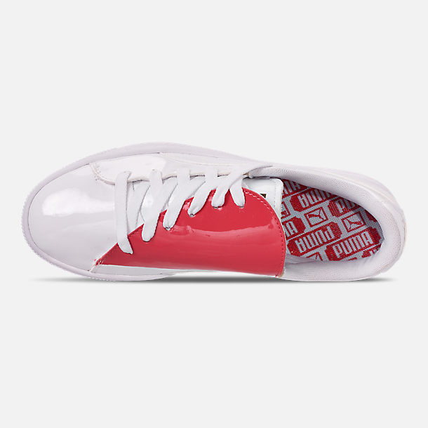 Top view of Women's Puma Basket Crush Casual Shoes in White/White