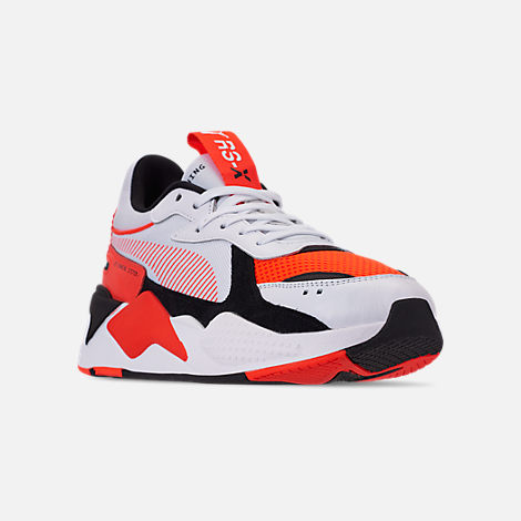 Three Quarter view of Men's Puma RS-X Reinvention Running Shoes in Puma White/Red Blast