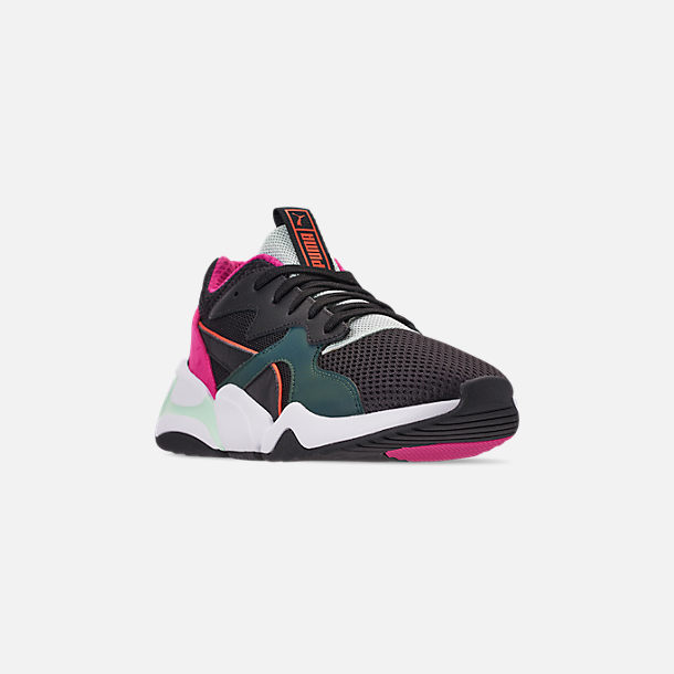 Three Quarter view of Women's Puma Nova Mesh Casual Shoes in Black/Fair Aqua