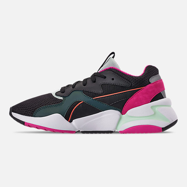 Left view of Women's Puma Nova Mesh Casual Shoes in Black/Fair Aqua