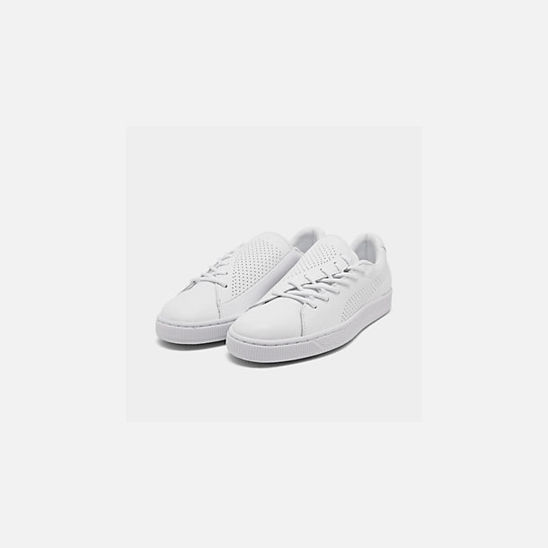 Three Quarter view of Women's Puma Basket Crush Perf Casual Shoes in White