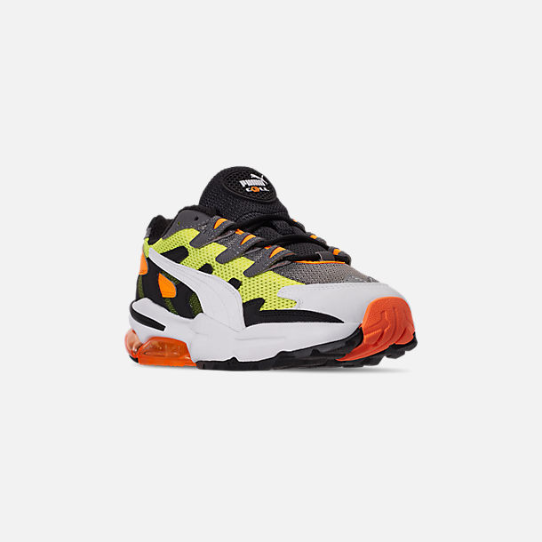 Three Quarter view of Men's Puma CELL Alien OG Casual Shoes in Yellow Alert/Flourescent Orange