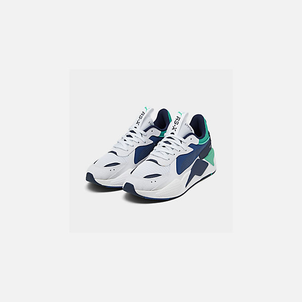 Three Quarter view of Men's Puma RS-X Hard Drive Casual Shoes in Puma White/Galaxy Blue