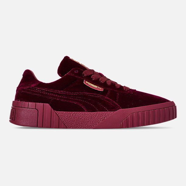 Right view of Women's Puma Cali Velvet Casual Shoes in Tibetan Red/Tibetan Red