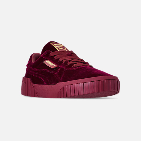 Three Quarter view of Women's Puma Cali Velvet Casual Shoes in Tibetan Red/Tibetan Red